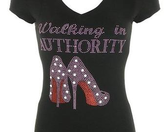 Walking In Authority Bling/Rhinestone tee