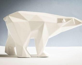Orso in ceramica poligonale smaltato bianco