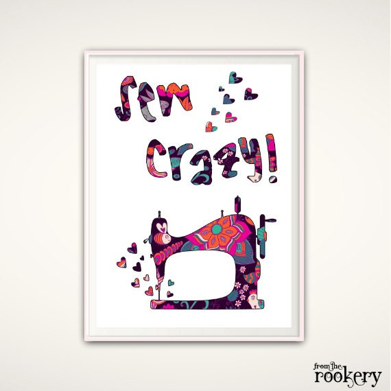 Wall Art For Craft Room : Sewing room print craft wall art sew crazy