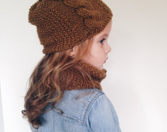 Toddler Cabled Cowl and Hat set