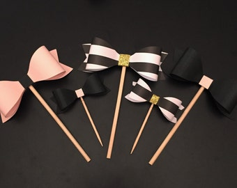 Set of 12 Spade Inspired Bow Cupcake Toppers - Perfect for Any Occasion - 3 Different Sizes to Choose From - Custom Colors Available