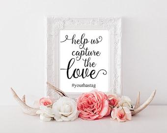 PERSONALISED Wedding Hashtag Sign, Printable Wedding Sign, 4x6, 5x7, 8x10 Wedding Print, Hashtag Wedding, Instagram Wedding