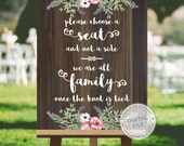 Wedding signs for seating, wedding signage, wedding signs download - CHOOSE a seat not a side - wooden wedding signs, DIGITAL download