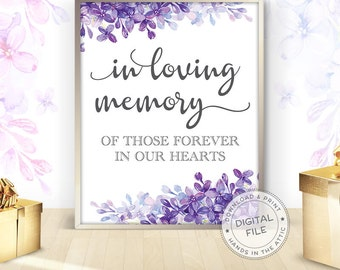 Floral wedding signs, in loving memory, printable wedding signage, lilac purple lavender wedding signs ideas, DIGITAL download