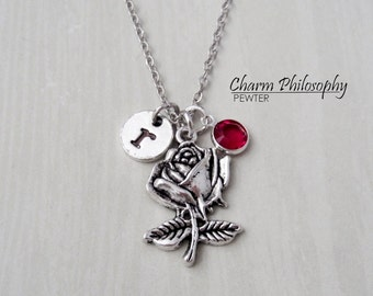 Rose Necklace - Flower Necklace - Antique Silver Jewelry - Monogram Personalized Initial and Birthstone