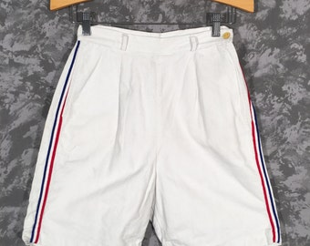 1950's High Waisted White Shorts with Side Stripes