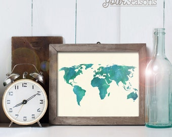 World Map Art - 24x36 printable digital file - INSTANT DOWNLOAD!