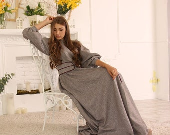 Tweed Winter Maxi  Dress / Long Wool Dress / Maxi dress with long sleeves