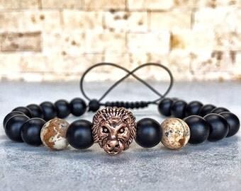 Mens Lion Bracelet, Mens Onyx Bracelet, Jasper Bracelet, Bracelet For Men, Protection Bracelet, Lion Bracelet, Lionhead Bracelet, Gift