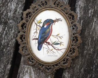 Vintage Brass & Ceramic Wall Plaque With Kingfisher Scene.