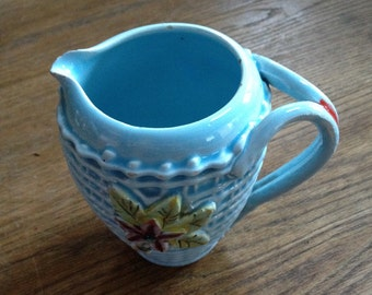 Vintage Basket Weave Pattern Glazed Milk Jug. Around 100 Years Old. Excellent Condition.