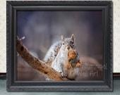 Cute Squirrel - Teddy Bear -  Digital Art Print - My Bear - 8X10  11X14  16X20 - Whimsical Wall Art - Digital Art Print - Funny Animals