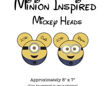 Minion Inspired Mickey Mouse Head Iron-On Transfer - Customized with ANY NAME- Digital File - Printable - One Eyed or Two Eyed Minion Head-