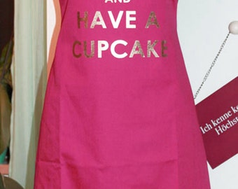 Cooking Apron with print baking keep calm and have a cupcake mother's day gift pink gold