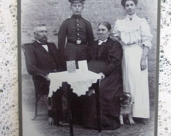 Antique Cabinet Card Mourning Photo, Prussian Family & Dog, Son in Uniform, C. Jensen Wesselburen