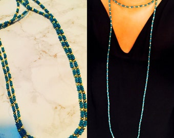 Turquoise & Gold Beaded Double Wrap Necklace