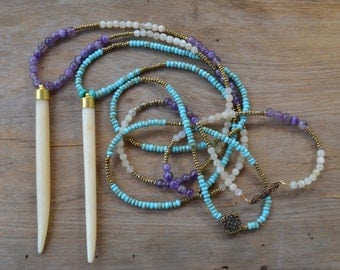 Horn Necklace with Amethyst and turquoise , Skinny Bone Pendant, Boho Jewelry Necklace, Turquoise and Hematite Skinny Bone Pendant Necklace