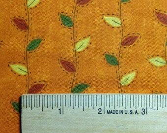 Colorful Leaves on Pumpkin Background, Perfectly Seasoned by Sandy Gervais for Moda Fabrics, 100% Cotton
