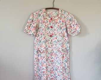 Vintage French 1940s Garden Print House Dress