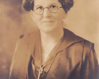 "Vintage Photo of Woman with Glasses and Interesting Beaded Necklace 4.5"" by 6.5"" inches"