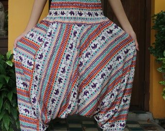 Women Harem Pants Drop Crotch Style Small Lovely Elephant One Size Fits