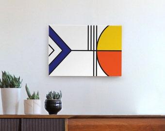 mid century modern art, geometric wall art, mid century art, modern art, de stijl, abstract art, canvas print, yellow, blue, orange, black