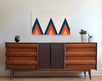 large feature size canvas wall art, teepee ridge, mid century modern art, triangle, Scandinavian art, geometric wall art, wall decor