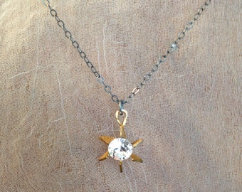 Vintage Swarovski Crystal Star Pendant Necklace on Oxidized Sterling Silver Chain