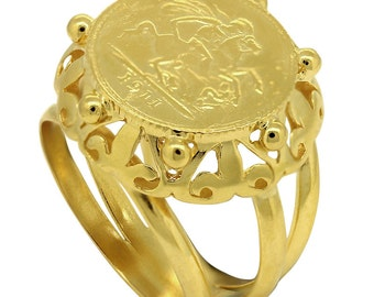 Unique Gold Coin Ring Related Items Etsy