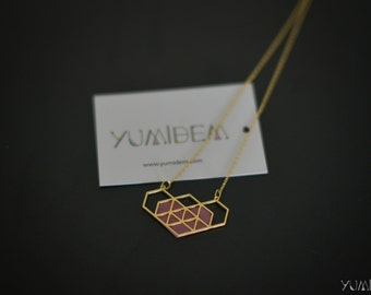 gold plated pink geometric Heart Necklace