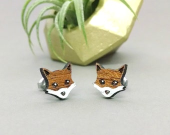 FREE US SHIPPING - Fox Post Earrings on Mahogany Wood - Laser Engraved with Titanium Stud - Hand Painted White