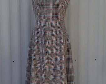 vintage style jumper, 1950s style dress, wool jumper, plaid dress, vintage style dress, gift for her, gift for women, gift for wife