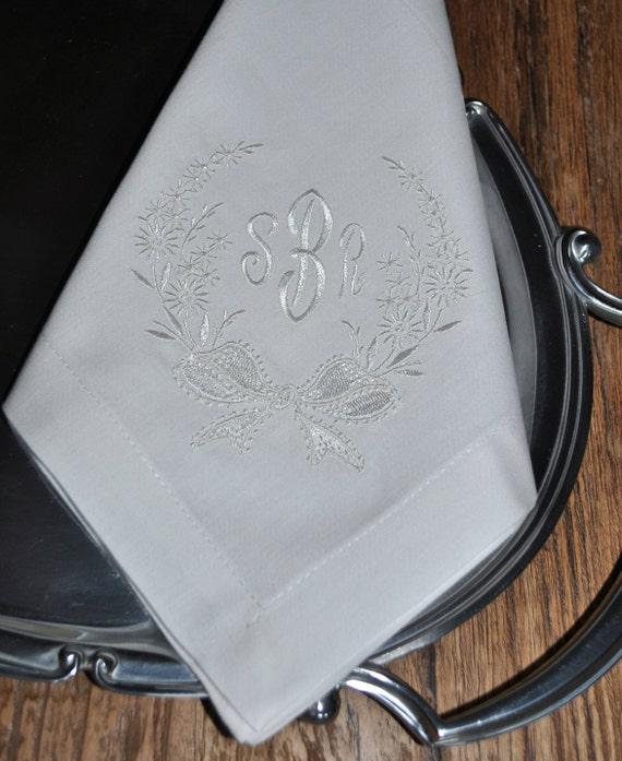 monogram napkins embroidered napkins wedding cake table. Black Bedroom Furniture Sets. Home Design Ideas