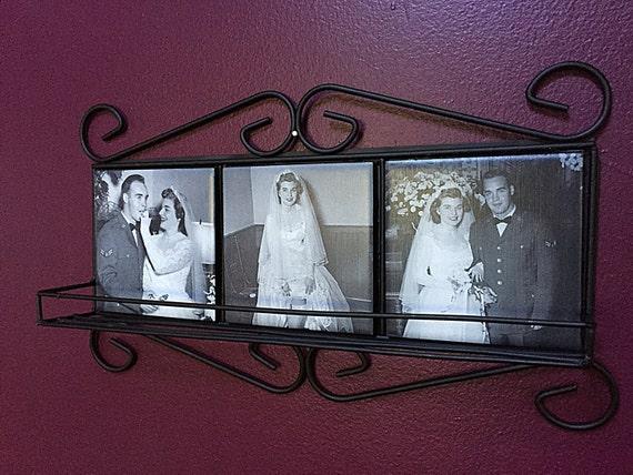 Custom Wrought Iron Shelf With Photo Tiles Ceramic Tile Wall