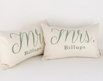 SET of Mr and Mrs Pillows, Wedding Gift, 2nd Anniversary, Cotton Gift, 2 Year Anniversary, Bridal Shower, Gift for Newlyweds