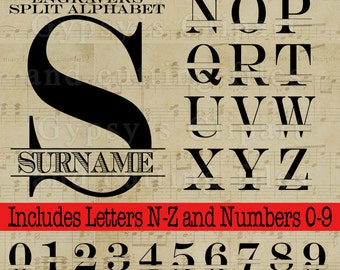 Split Letter SVG, Split Monogram Letter, Fancy Letter Modern, SVG Font, Vector, ai,png, eps, png, dxf, Wedding Monogram,  Silhouettes