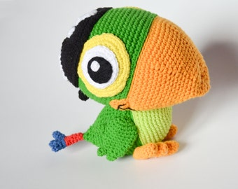 Crochet PATTERN - green parrot pattern by Krawka