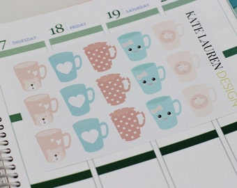 Kawaii Planner Stickers, Coffee Stickers, Tea Stickers, Erin Condren Planner Stickers, Kawaii Stickers, Kawaii Coffee Planner Stickers