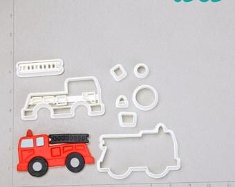 Fire Truck Cutter fire truck cake topper,fire truck clipart,130D