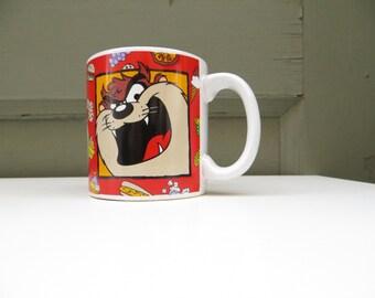 TAZ Mug // 1990s Looney Tunes // RED // oversized mug // coffee cup // cartoon
