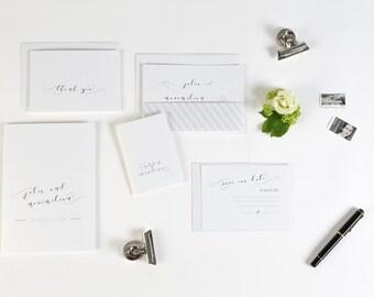 Einladung Hochzeit Chesterfield inklusive Banderole und Umschlag -raffiniert in creme oder grau