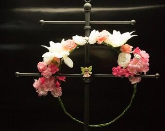 Soft Pink Flower Crown - OOAK
