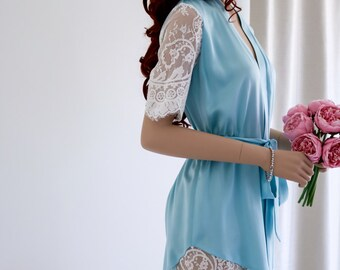 Silk & Lace Robe/ Bridal Robe/ Gift for Her/ Short Silk Robe/ Short Night Gown/ Lace Sleeve Robe/ Christmas Gift