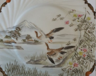 Vintage Asian Plates - Kutani Mt. Fuji, Lake, Birds - Handpainted Cranes, Geese - Rice Wrapper Thin Scalloped Plates Set of 3