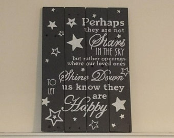 "Pallet wood ""Stars in the sky"" sign ~ Sympathy Gift ~ Rustic wood wall art"
