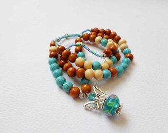 Sandalwood Turquoise Necklace, Angel Charm Necklace, Yoga Boho Necklace, Colorful OOAK Necklace, Happy Birtday Gift, Bohemian Zen Necklace