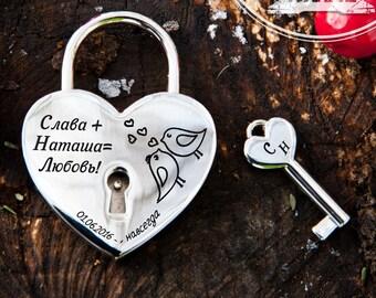 Silver wedding Engraved Love Lock - Love Padlock -  free engraved