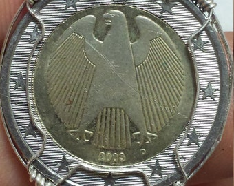 Silver Wire Wrapped 2 Euro Coin Pendant