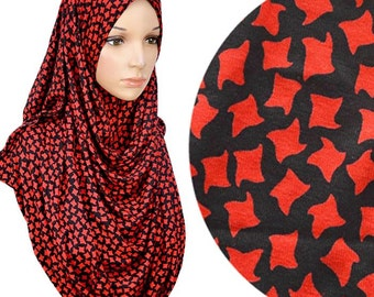 Geometric Print Semi Instant Shawl Pinless Hijab