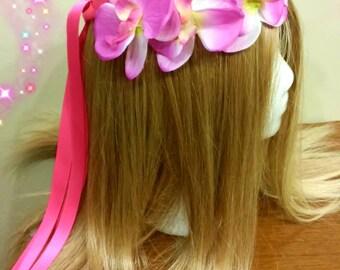 Floral Headdress, Hawaiian Headband, Tropical Hairpiece, Hair Wreath, Orchid Headpiece, Head Band, Luau Accessory, Flower Crown